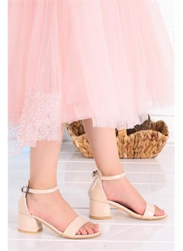 Kiko Kids  041 Elmnt Rugan Kız Çocuk 3 Cm Topuk Sandalet Ayakkabı Ten